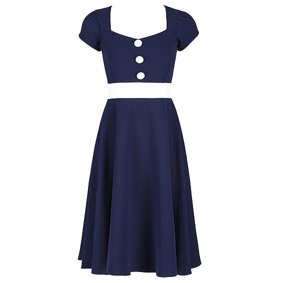 4ea67373e973 Pretty Kitty Fashion 1950s Navy Blue White Nautical Inspired Rockabilly  Swing Dress: Amazon.co.uk: Clothing