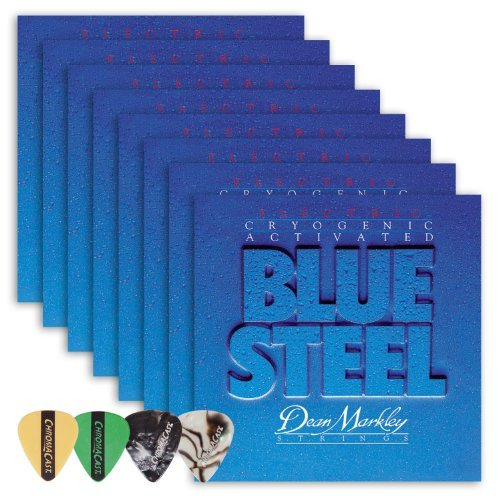 Dean Markley 2556 Blue Steel REG Electric Guitar Strings 8-Pack (0.10-.046) Includes Guitar Picks by Dean Markley