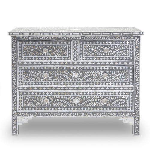 Grey Handmade Mother of Pearl Shell Inlay Chest of Drawers