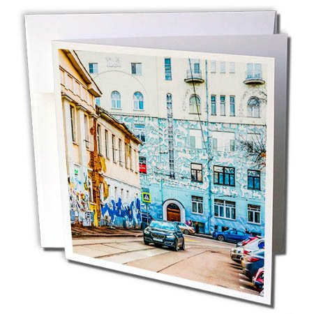 3dRose Alexis Photography - Moscow City - Moscow city - Murals of the past and present days - 6 Greeting Cards with envelopes (gc_271290_1) -