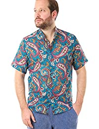 by Cacala Nice Men's Button-Up Beach Shirt, Short Collar, Breathable Cotton, Floral Pattern
