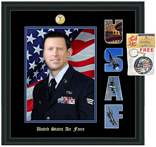 (Military Picture Frame 8x10 Photo Plaque Armed Forces Military Gift Collage Letter Wall Photo Display Frames USAF Airman FBI CIA Army Soldier Homeland Security USMC Navy Air Force Retirement Gift)