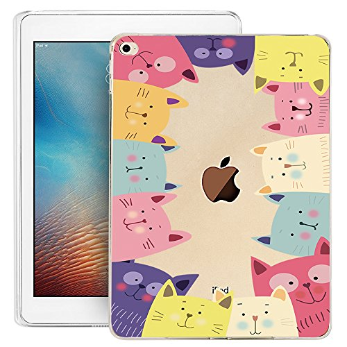 iPad Mini 4 Case, iPad Mini 4 Soft Clear Case, Doramifer Childhood Series Protective Case [Anti-Slip] [Good Grip] [Ultra Thin] with Aesthetic 3D Print Soft Back Cover for iPad Mini 4 (Cats Party)