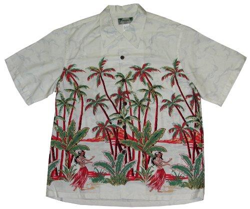 Kamehameha Style - Hula Girl Palm Men's Hawaiian Aloha Retro Vintage Rayon Shirt in White - ()