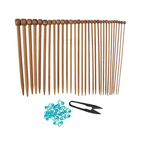 "Bamboo Ultra Strong Knitting Needles Set 9"" Single Point - 15 sizes 2mm-10mm - Carbonized Brown - Comes w/Stitch Markers & Snip"