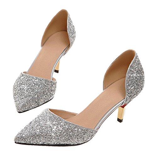 Enmayer Mujeres Oro Brillo Puntiagudo Zapatos De Dama De Oficina De Tacón Alto Zapatos De Fiesta Zapatos De Salón Zapatos De Corte Plata (g26) (tacón: 7 Cm)