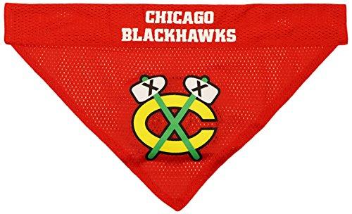 NHL Chicago Blackhawks Bandana for Dogs & Cats, Small/Medium. - Cute & Stylish Bandana! The Perfect Hockey Fan Scarf Bandana, Great for Birthdays or Any Party! ()