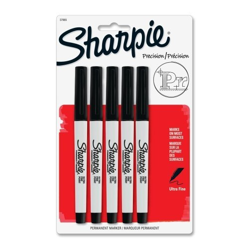 Sharpie Products - Sharpie - Permanent Markers, Ultra Fine Point, Black, 5/Pack - Sold As 1 Pack - Extra precise, 0.2mm narrowed tip for extreme control and accuracy. - Permanent on most surfaces. - Quick-drying ink is waterproof, smearproof and fade-resi