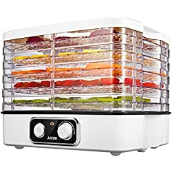 Aicok Electric Food Dehydrator Machine, Multi-Tier Food Preserver with Temperature Control from 95ºF to 158ºF for Beef Jerky, Dried Fruits, Vegetables & Nuts, 5 Stackable Drying Trays, BPA free & Dishwasher Safe