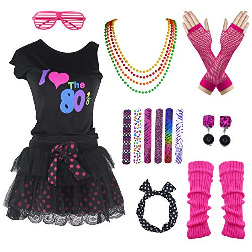 Vintage 80s Polka Dot Tutu Skirt Costume Accessory Set for Girls (7-8, Hot -