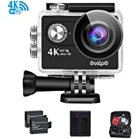 4K WiFi sports Action Camera GeckoG Ultra HD Waterproof DV Camcorder 16MP 170 degree Wide Angle LCD +USB Dual battery Charger+ Portable Package Including Full Accessories Kits