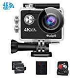 4K WiFi Sports Action Camera GeckoG Ultra HD Waterproof DV Camcorder 16MP 170 degree Wide Angle LCD +2Pcs1050Mah Rechargeable Batteries +USB Dual battery Charger+ Portable Package Including Full Acces