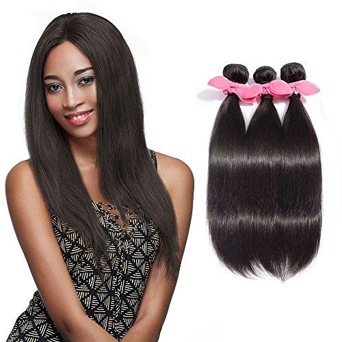 Rechoo 7A Grade Mixed Length Brazilian Remy Hair Extension Weave 3 Bundles 300g - Natural Black,14