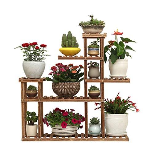 (Rack Flower Display Flower Storage Flower Shoe Rack Shelf Ladder Stand Wood Indoor and Outdoor Stack Bar Floor-Standing Rack Size 95x90x25 cm)