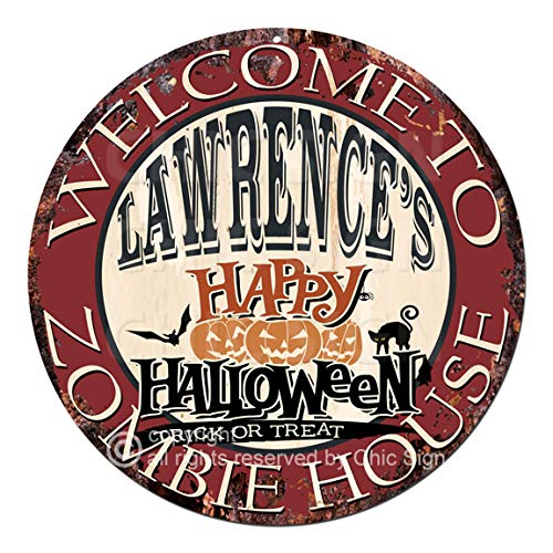 Welcome to The Lawrence'S Happy Halloween Zombie House Chic Tin Sign Rustic Shabby Vintage Style Retro Kitchen Bar Pub Coffee Shop Man cave Decor Gift Ideas]()