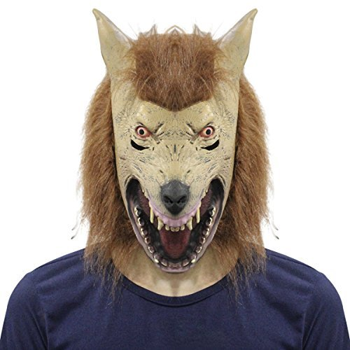 Scary Wolf Head Mask Latex Rubber Creepy Werewolf Halloween Party Costume Decorations