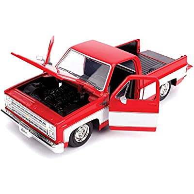 1985 Chevrolet Silverado C-10 Pickup Truck Custom Wheels Red and White Just Trucks 1/24 Diecast Model Car by Jada 31608 MJ: Toys & Games