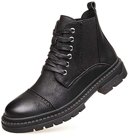 男性の足首の靴レースアップスタイル弾性バンドマイクロファイバーレザーキャップTOEのバイク用半長靴通気性の裏地アンチスリップ YueB HAJ (Color : ブラック, サイズ : 27 CM)