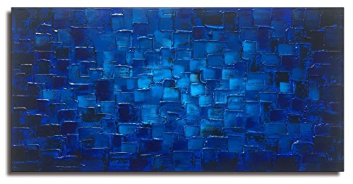 Blue Oil Painting (Large Abstract Dark Blue Square Wall Art Hand Painted Textured Oil Painting on Canvas Ready To Hang 60x30inch)
