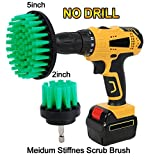 HIFROM Drill Brush - 2'' 5'' Power Drill Attachment Medium Stiffness Bristles Scrubbing Scrubber Cleaning Brush Kit for Kitchen Cabinets Counters Linoleum Bathroom Shower Tile Porcelain