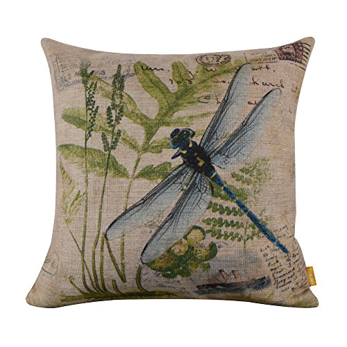 Dragonfly Throw Pillow - LINKWELL 4545cm Retro Vintage Green Paris Country Dragonfly Linen Cushion Cover Postmark