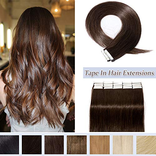Rooted Tape In Human Hair Extensions Invisible Seamless Skin Weft Double Side Tape Remy Human Hair Extensions Natural Straight For Women (18'',50g/20pcs,#2 Dark Brown)