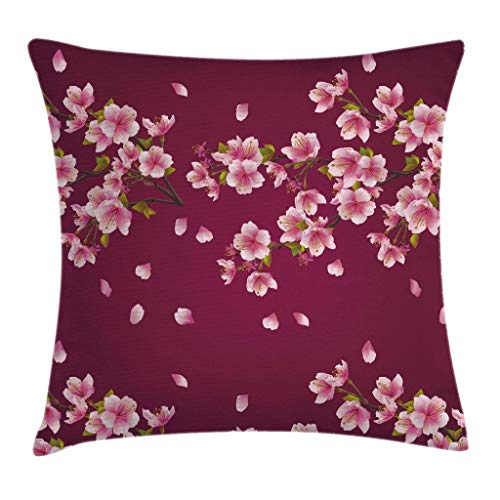 Ambesonne Maroon Throw Pillow Cushion Cover by, Japanese Sakura Tree Branches in Full Blossom Scattered Petals Asian Spring, Decorative Square Accent Pillow Case, 18 X 18 Inches, Pink Maroon Green
