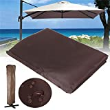 TANCHEN 260x70CM Brown Waterproof Garden Patio Parasol Umbrella Outdoor Canopy Protective Cover