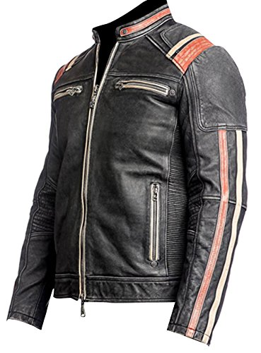 Leather 3 Real Retro D Giacca Smoke Piumino Uomo Red Jacket yUWcRq87q