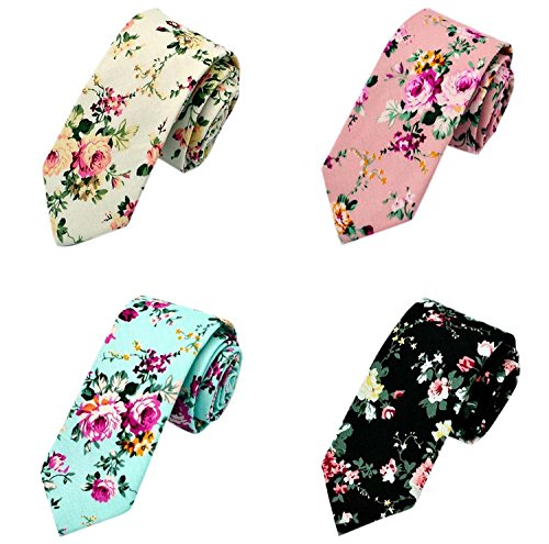 Gellwhu Men's Fashion Causal Cotton Floral Printed Linen Tie Necktie (4 Colors)
