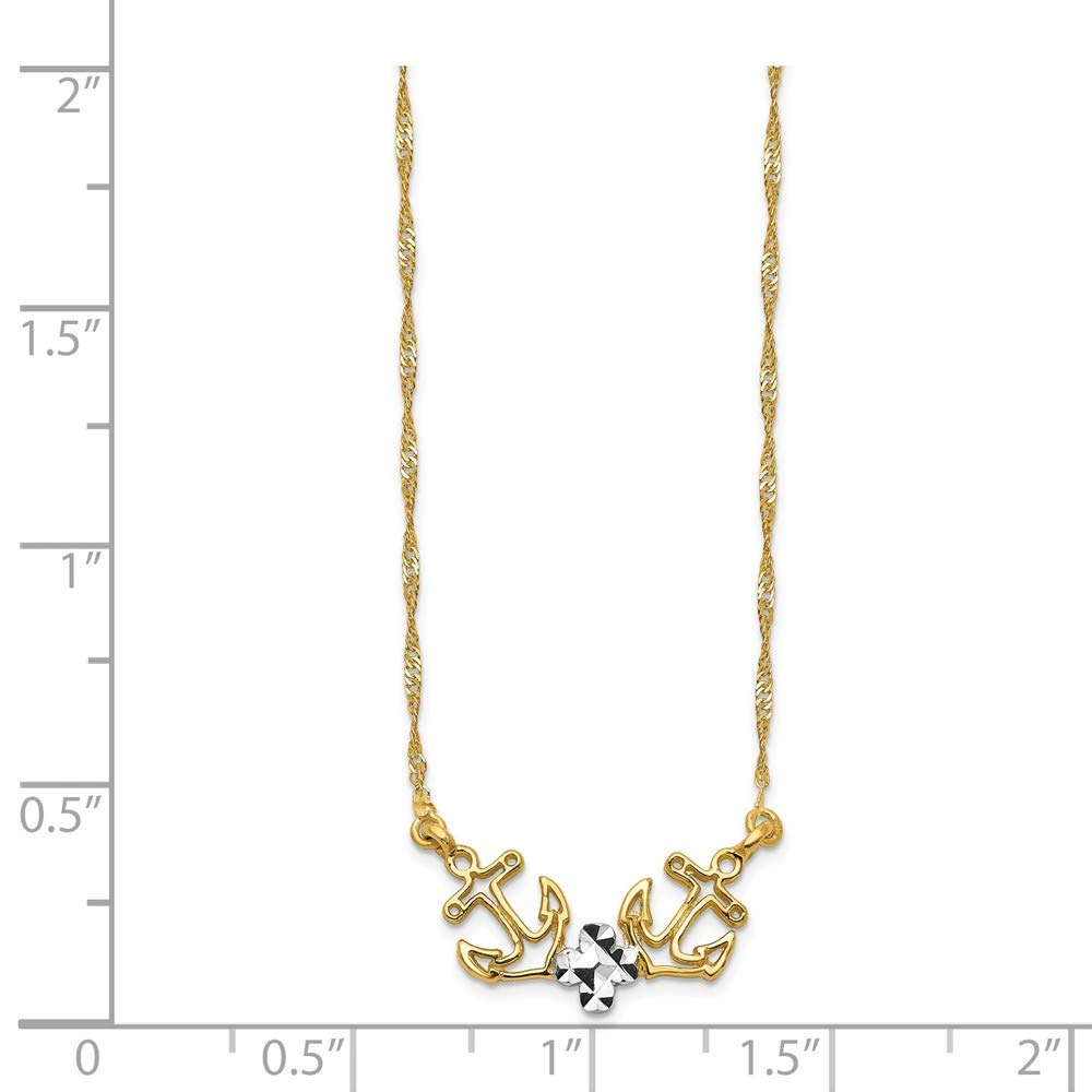 14K and White Rhodium Polished /& Diamond-cut Anchor Necklace