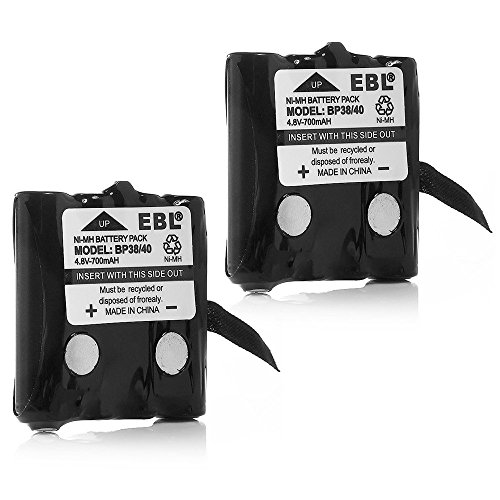 EBL BP-38 Two-Way Radio Batteries 4.8V 700mAh Replacement Battery for Uniden BP-38 BP-39 BT-1013 BT-537 BP-40 FRS-008 (2 - Replacement 700 Mah New