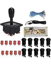 Acessórios para joystick, kit de peças faça-você-mesmo sem programação, kit de arcade, joystick, arcade, jogo de arcade, atraso para sistema para jogos de PC (preto)