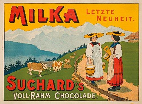 (Milka - Suchard's Vintage Poster Switzerland c. 1910 (12x18 Art Print, Wall Decor Travel Poster) )