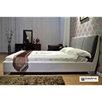 Greatime Queen, White Leatherette Bed with Gray Fabric Headboard