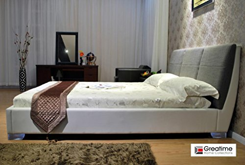 GREATIME B1145 Queen White Leatherette Bed with Gray Fabric Headboard