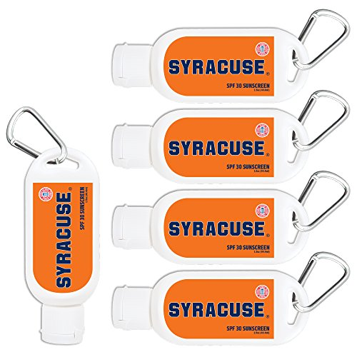 Syracuse Orange Sport Sunscreen 5-Pack SPF 30 Travel Size with Clip, Water and Sweat Resistant 80 Minutes, UVA UVB Protection. NCAA Gifts for Men and Women.