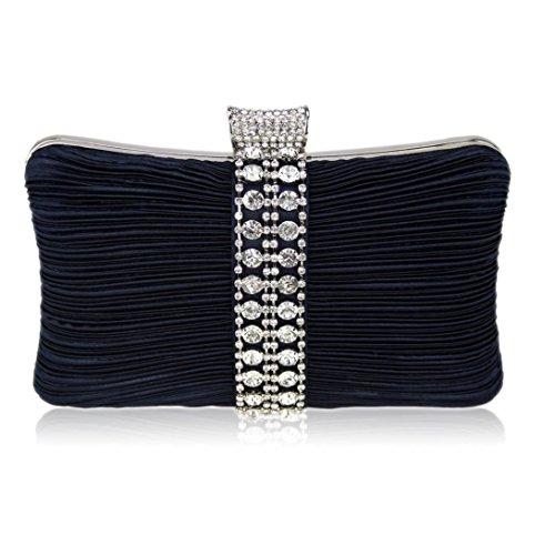 Trendstar De las mujeres embrague bolsas De Damas Étincelant Cristal tarde Bal De estudiantes De las partes bolsas De boda Azul - azul marino