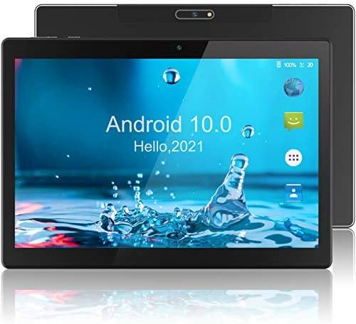 Android Tablet 10 Inch 2021, 32GB Storage, WiFi Tablets with Android 10.0 OS, 5MP Rear Camera, WiFi, Bluetooth, GPS, Google Certified, HD IPS Screen – Black