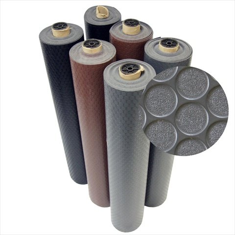 Rubber Cal Coin-Grip Flooring and Rolling Mat, Dark Grey, 2mm x 4 x 4-Feet