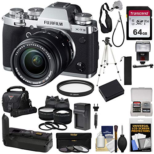 Fujifilm X-T3 4K Wi-Fi Digital Camera & 18-55mm XF Lens (Silver) with VG-XT3 Grip + 64GB Card + Battery/Charger + Case + Flash + Tripod + 2 Lens Kit