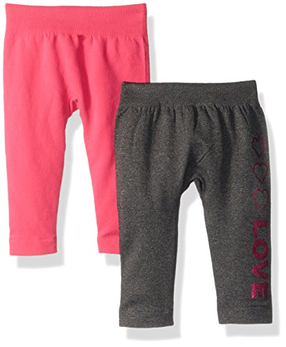 One Step Up Baby Girls 2 Pack Seamless Legging, Charcoal/Pink, One Size