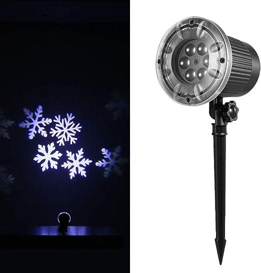 Decdeal Proyección Luz Animado Proyector Led Copo de Nieve Blanco ...