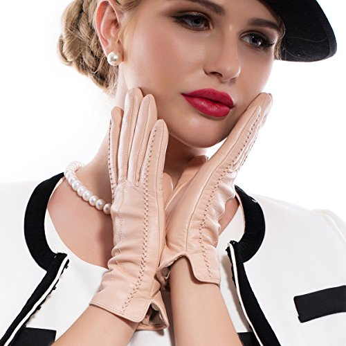 MATSU Casual Women Winter Warm Lambskin Leather Long Fleece Gloves M9229 (M, (Lambskin Leather Long Gloves)