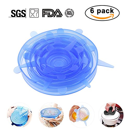 Silicone Stretch Lids, 6 Pcs Stretchable Reusable Food Saver Covers for Dishwasher and Freezer, silicone bowl covers reusable, Lanting(Blue)