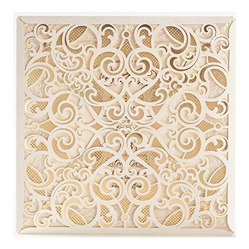 50 WISHMADE 6 x 6 inch Ivory Square Laser Cut Foil Hollow Wedding Invites, Printable Blank Birthday Invitations Wedding Stationery with Envelope Matched RSVP Thank You Card, 「Fortuitousness」