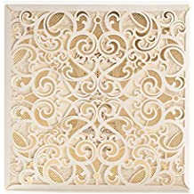 50x Wishmade Ivory Printable Laser Cut Lace Invitations Cards Kit With Matched Thank You Card and RSVP Card For Wedding Party Birthday Occasion with Envelope CW6109