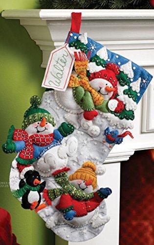 Bucilla Snow Fun Snowman Stocking Felt Applique Kit 18
