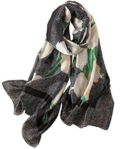 JIUMAN Womens 100% Mulberry Silk Scarf Long Satin Scarf Fashion Designer Scarf Lightweight Neck Wear (Make Silk Scarf)