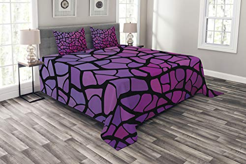 Ambesonne Abstract Bedspread Set Queen Size, Graphic Stained-Glass Style Mosaic Pattern in Purple and Pink Shades, 3 Piece Decorative Quilted Coverlet with 2 Pillow Shams, Violet Magenta and Black